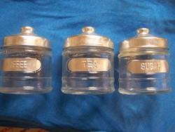 3 darab konyhai tároló üveg, fém tetővel. Hibátlan magasság 10 cm