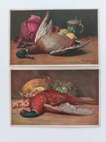 Régi képeslap konyhai csendélet levelezőlap fácán kacsa vadászat 2 db