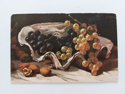 Régi képeslap 1919  konyhai csendélet levelezőlap kagyló szőlő dió