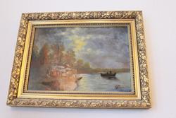 Olajfestmény, festmény, hajók, hajós régi keretben, jelzett Wellner