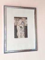 Szerelem. Rosetta Lavattup olasz művész gyönyörű szerelmespár rézkarca stílusos keretben