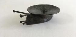 Retro, fém, iparművész csiga gyertyatartó