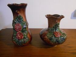 Váza porcelán barna rózsás párban