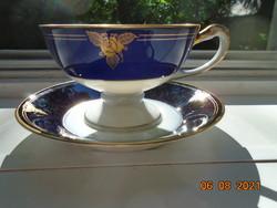 1938 Empire arany-kobalt kézzel festett rózsa,dombor kígyó fej fogó és babér talpgyűrű ,teás szett
