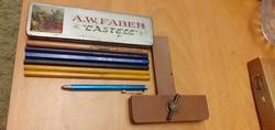 Régi, íróasztali kellékek - A.W.Faber Castell, ceruzák: másodrendű irón,Schuler,Stadion, Postairón