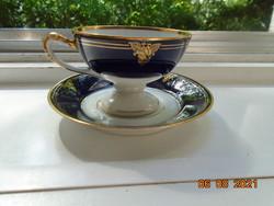 1938 Empire arany-kobalt kézzel festett rózsa ,dombor kígyó fej fogó és babér talpgyűrű ,kávé szett