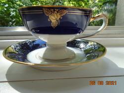 1938 RITKA Empire arany kobalt kézzel festett rózsa mintás,dombor kígyó fej fogó és babér,teás szett