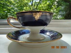 1938 RITKA Empire arany kobalt kézzel festett rózsa mintás,dombor kígyó fej fogó és babér,kávé szett