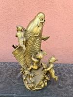 Fengshui kínai réz ponty szerencsehozó szobor