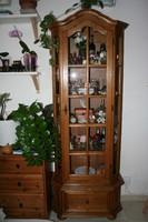 Antik üveges tölgyfa vitrin, szekrény
