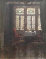 Pongrácz Sarolta: Enteriőr (olajfestmény kerettel, 51x61 cm)