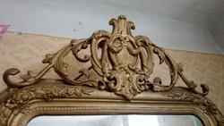 Barokk tükrös pultos konzol asztal fali dísz elem