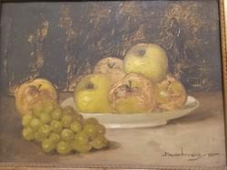 Dobay Ferenc - Asztali csendélet - gyönyörű, eredeti  antik olajfestmény, antik blondel!- 1 forint