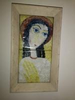 Kerámia falikép, üveg mázzal, 60as évek, 20x35
