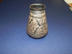 Antik ezüst berakású váza keleti munka , perzsa?