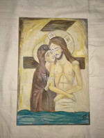 Signed image, icon, signed real painting icon, painting jesus, maria