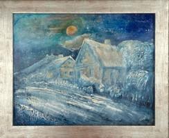Hóesés Szigligeten. 40x50 cm-es kiváló impesszionista kép. Eredeti, jelzett, certificationnal.