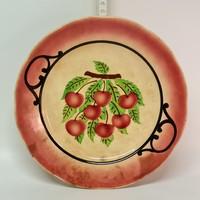 Hollóházi riolit cseresznyemintás porcelán falitányér (1861)