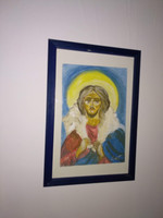 Jesus icon image, watercolor or acrylic painting, painting on paper