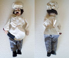 Very old antique wooden body doll wooden puppet puppet toy chef dress 44 cm high