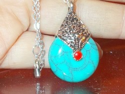 Turquoise coral mineral stone ornate Tibetan silver necklace