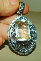 Aranyló Rutil szálakkal benőtt Ásvány Tibeti Ezüst Díszes Medál