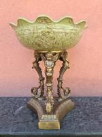 Bronz talpas porcelán gyümölcstál - asztalközép- kínáló