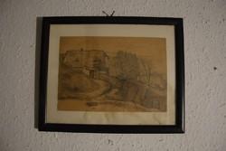 Alberth Ferenc ceruzarajz keretben, 22,5x15,5cm