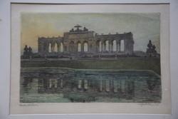 Max Julius Wunderlich Schönbrunnt ábrázoló színezett rézkarc, 16x24cm, szignózva