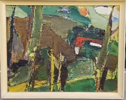 Veres Sándor László (1934-): Dombos táj napkoronggal