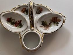 Gyűjtői antik porcelán só, bors, fogpiszkáló tartó tündéri.