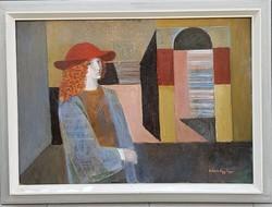 Szentgyörgyi Kornél (1916-2006) : A piros kalapos nő