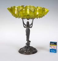 Szecessziós ón kínáló nőalakkal különleges zöld üveggel