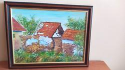 Romos tanya festmény 46x36 cm kerettel vászonra szignózott