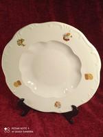 Zsolnay mesemintás nagy mély tányér, kis lepattanással