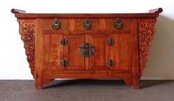 1F738 Gyönyörű keleti orientalista rézveretes keményfa tálaló asztal