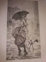 Antik 1904 Bécs Wien  fénynyomat litográfia BLECHINGER & LEYKAUF : A Négy Évszak  4 képen egyben