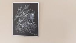Szép kép, fekete alapon 24x30 cm, szignózott