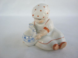 Retro ... Zsolnay porcelán Annuska pöttyös kendős kislány