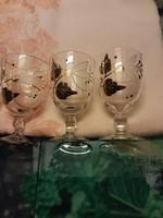 Retro - kézzel festett, aranyozott üveg pohár - 6 db