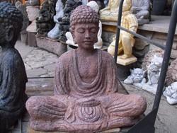 Rusztikus Lávakő felületű  Balinéz  Nagy 60cm Buddha szobor feng shui Kültéri Fagyálló