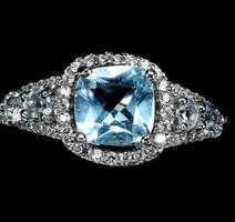 Valódi modern london blue topáz kővel díszített ezüstgyűrű 7 es ( 57) meret