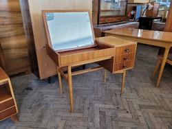 Retro régi mid century sminkasztal tárolós íróasztal pipere asztal