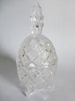 Gyönyörűen metszett,ólomkristály cukortartó,lábakon álló,tojás alakú