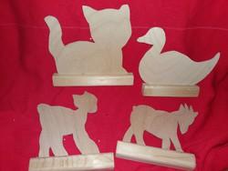 4 darab kreatív fa játék állatfigurák festhető ragasztható olcsón most CSAK egyben képek szerint