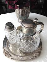 Régi üveg v. kristály karaffa + ajándék