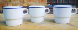 Retro Alföldi porcelán bögre kék csíkos