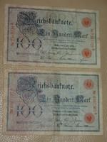 NÉMET 100 MÁRKA MARK 1905,1907 RITKÁBB!!! ÉVJ.  2 DB!!