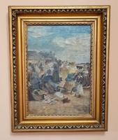 Szilágyi Dezső - Vásári életkép /1937/ antik festmény,gyönyörű keretben