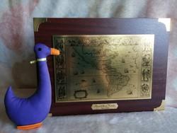 21180A3 Retro fém falikép, térkép replika